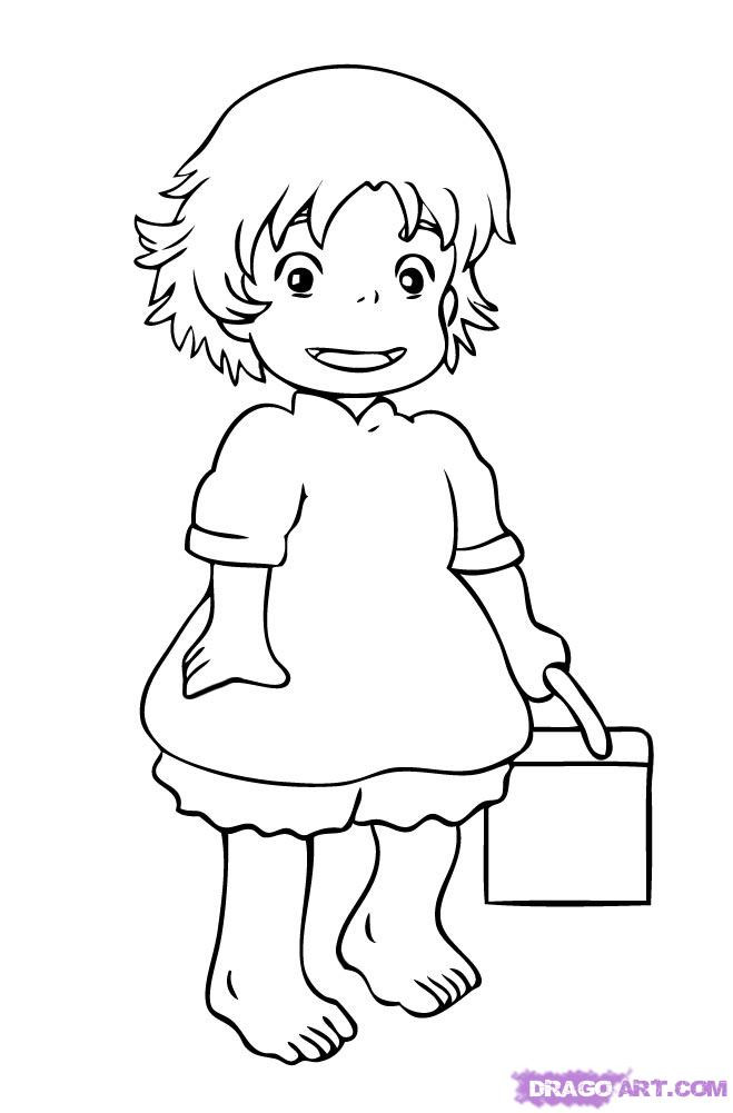 Ponyo Coloring Pages  How to Draw Ponyo Step by Step Disney Characters