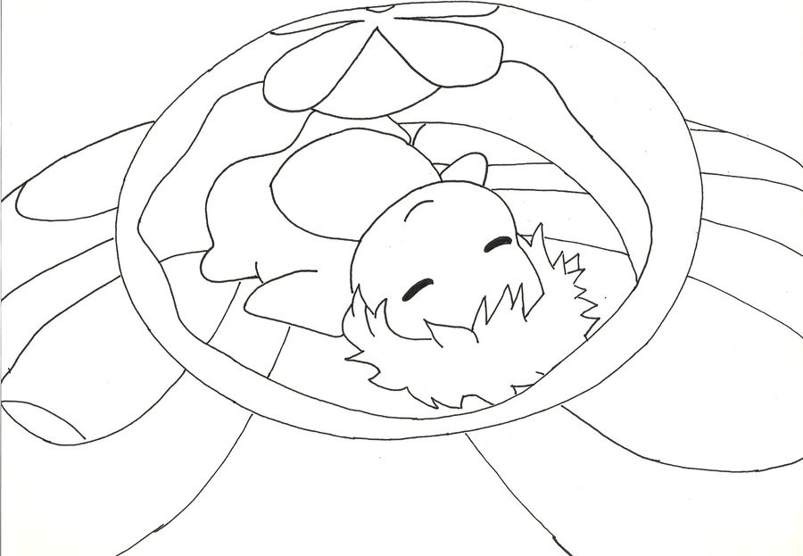 Ponyo Coloring Pages  ponyo line art by Cassidy Slingby on DeviantArt