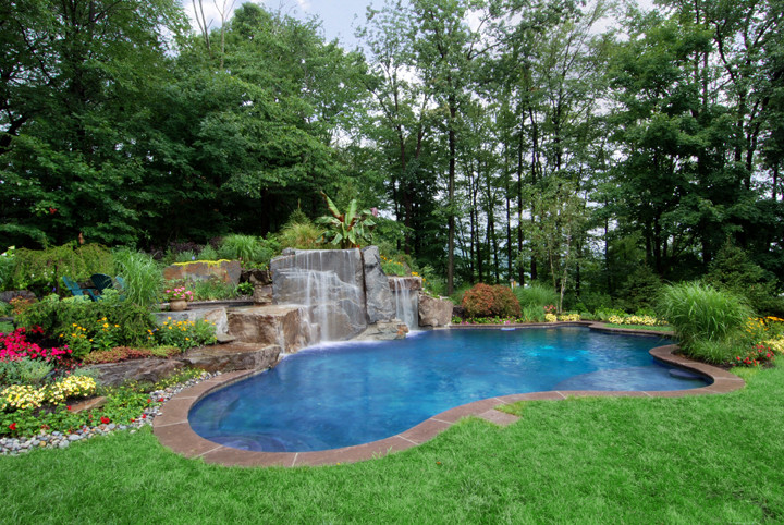 Best ideas about Pool Landscape Ideas . Save or Pin Backyard Swimming Pools Waterfalls & Natural Landscaping NJ Now.