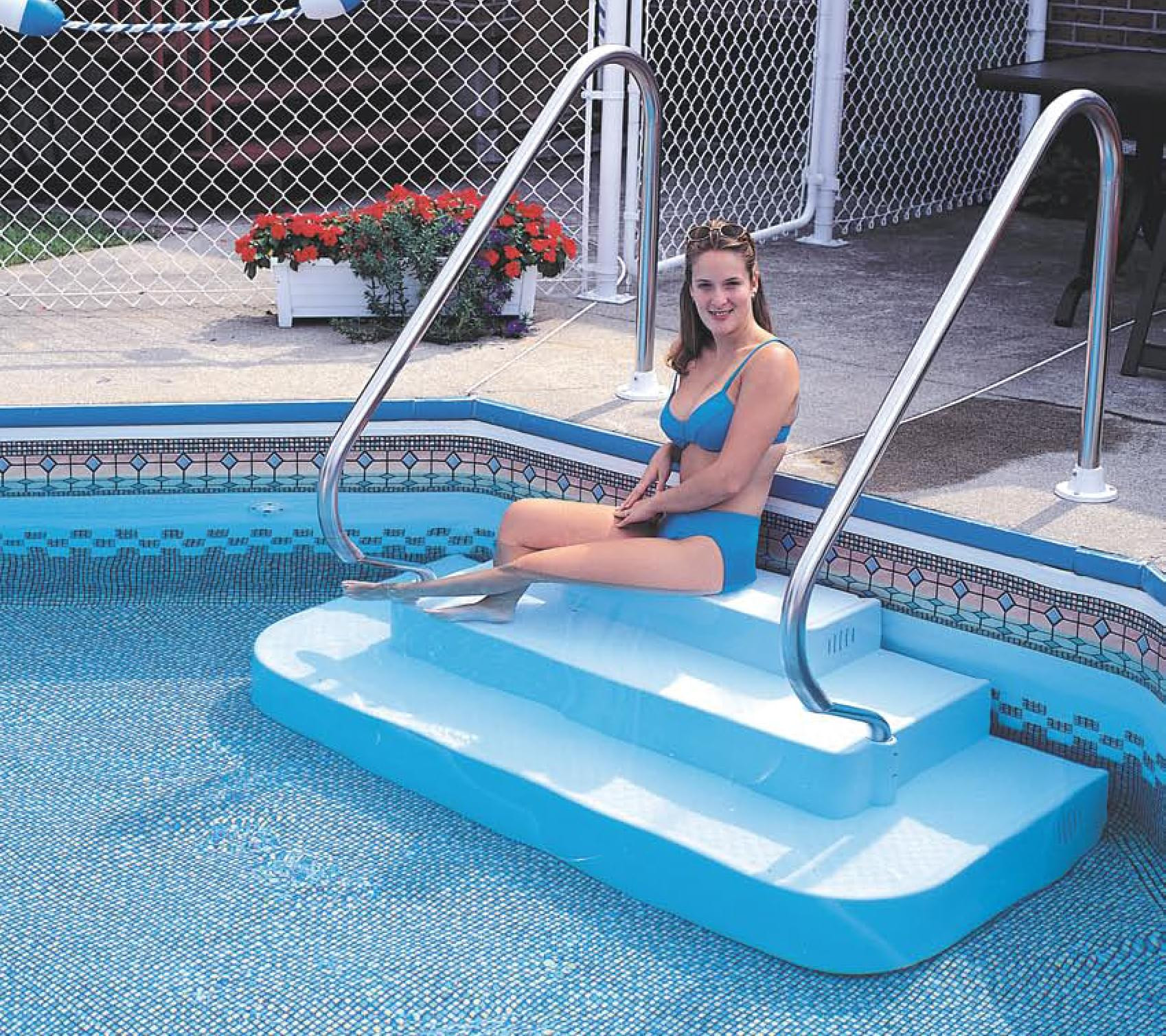Best ideas about Pool Steps For Inground Pool . Save or Pin The Step Inground Drop In Two Rails Pool Supplies Canada Now.