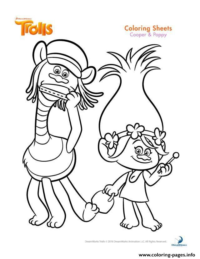 Poppy Trolls Coloring Pages  Cooper And Poppy Trolls Coloring Pages Printable