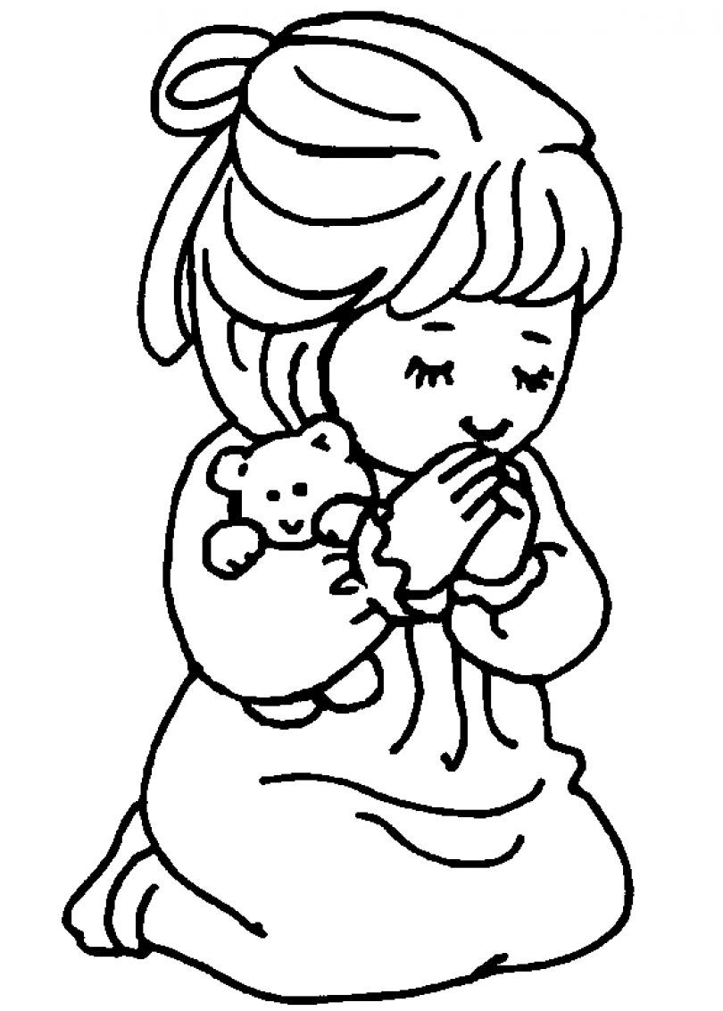 Prayer Coloring Pages For Kids  Children Praying Coloring Page
