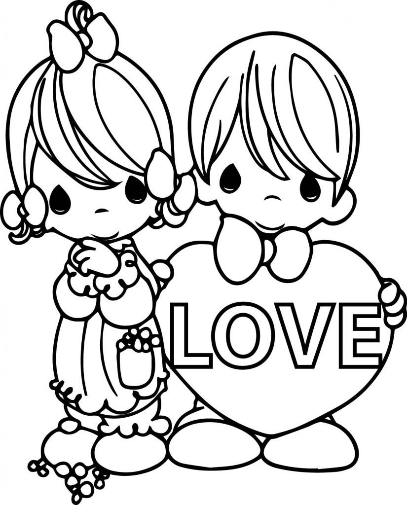 Precious Moments Printable Coloring Sheets  Precious Moments Valentine Coloring Pages Bestofcoloring