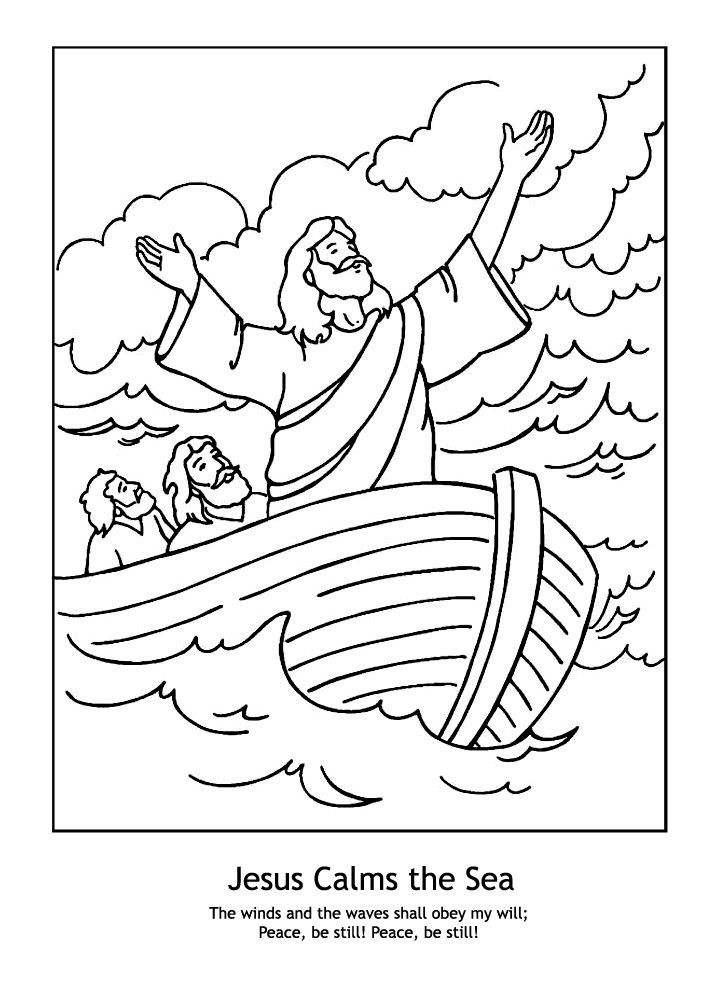 Preschool Bible Coloring Pages  A Year of FHE 2010 Wk 12 Jesus Calms the Sea