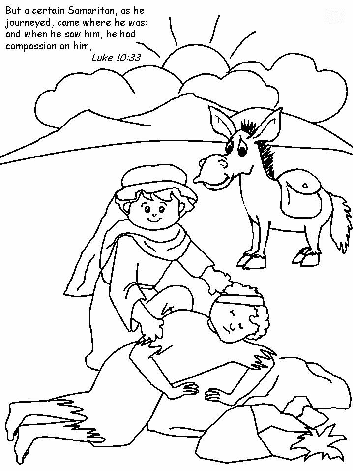 Preschool Bible Coloring Pages  Jesus tells about a Good Samaritan