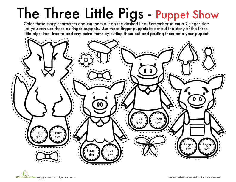 Preschool Coloring Sheets For The 3 Little Pigs Paper Plate Pig  The Three Little Pigs Finger Puppets Play