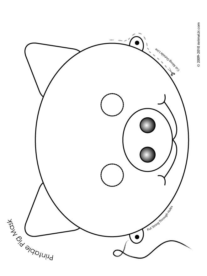 Preschool Coloring Sheets For The 3 Little Pigs Paper Plate Pig  Printable Animal Masks Pig Mask Printable Pig Mask
