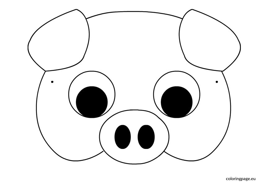 Preschool Coloring Sheets For The 3 Little Pigs Paper Plate Pig  Printable Pig Mask UMA Printable