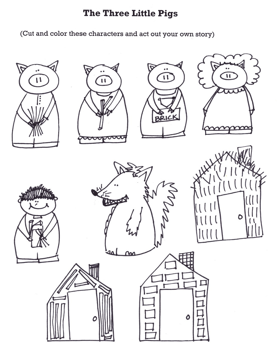 Preschool Coloring Sheets For The 3 Little Pigs Paper Plate Pig  The Three Little Pigs Worksheets