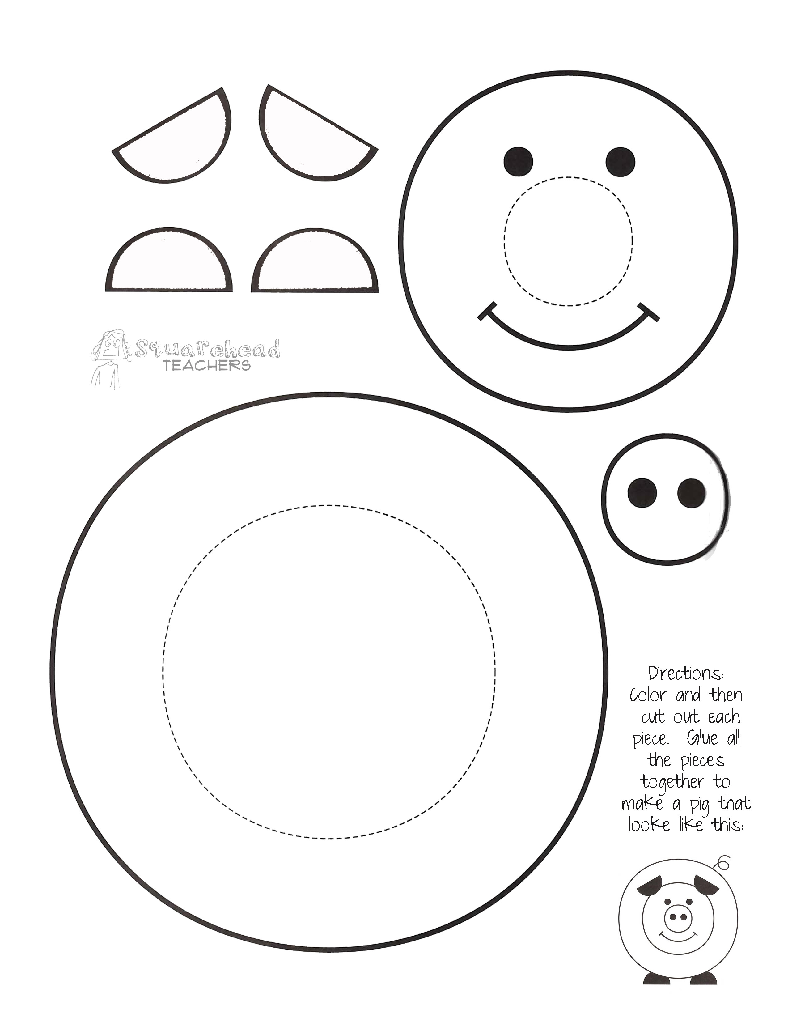 Preschool Coloring Sheets For The 3 Little Pigs Paper Plate Pig  Best s of Printable Pig Template Pigs Coloring Page
