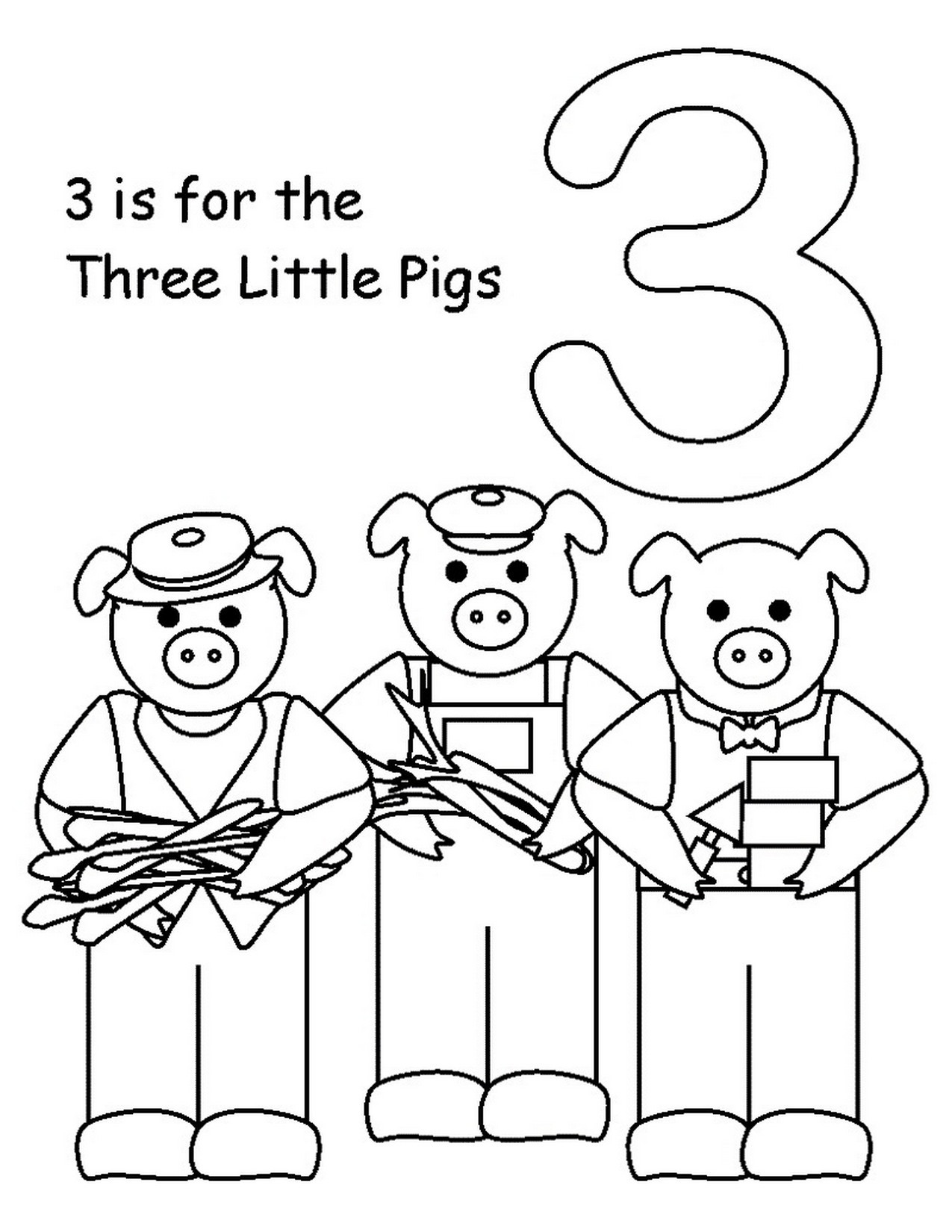 Preschool Coloring Sheets For The 3 Little Pigs Paper Plate Pig  Three Little Pigs Coloring Pages for Preschool