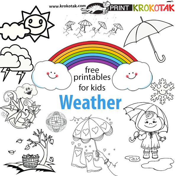Preschool Coloring Sheets On Weather  krokotak