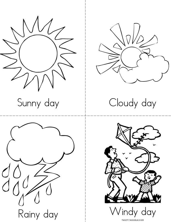 Preschool Coloring Sheets On Weather  How is the weather today Book Twisty Noodle
