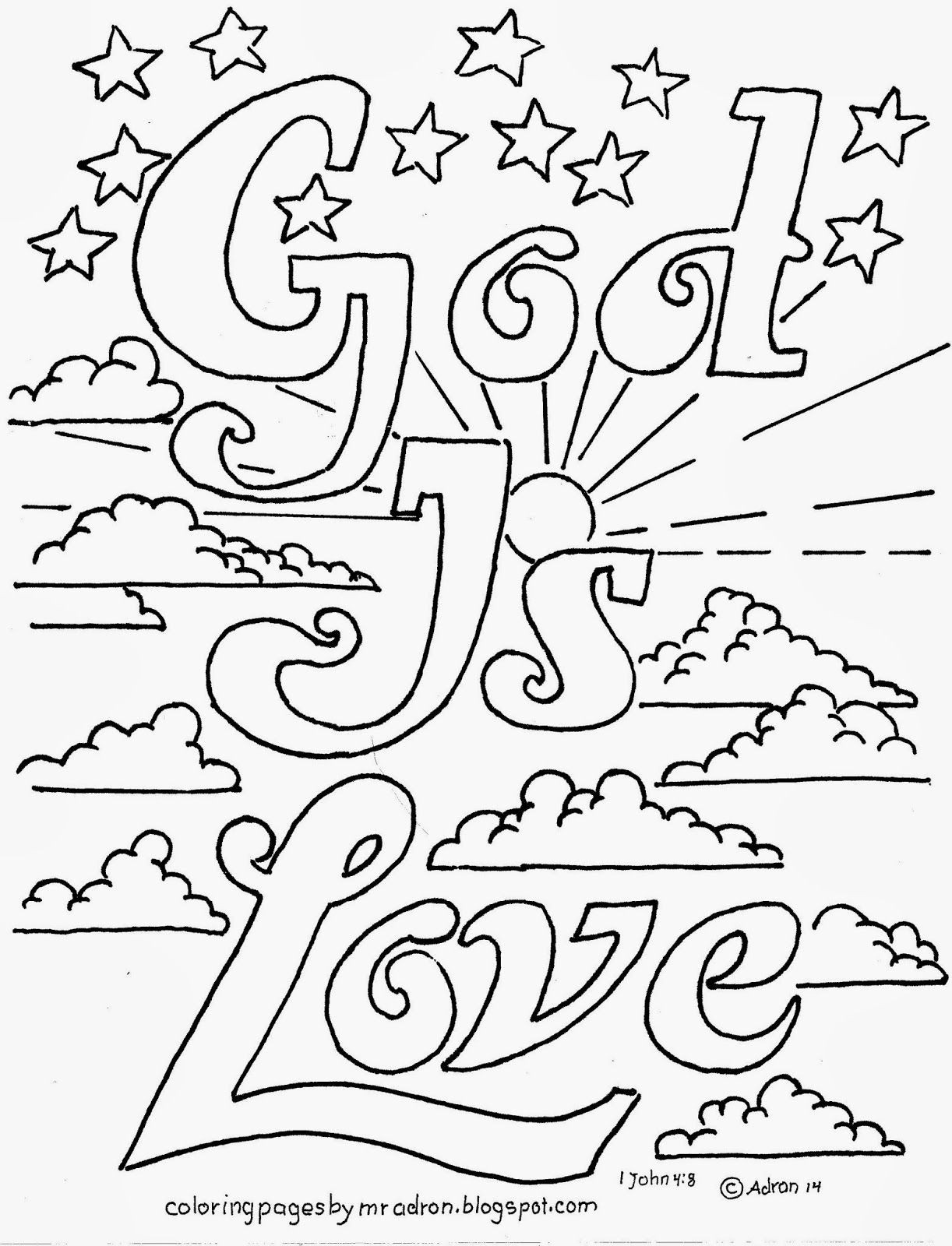 Printable Bible Coloring Pages For Kids Book Of John  Coloring Pages for Kids by Mr Adron God Is Love
