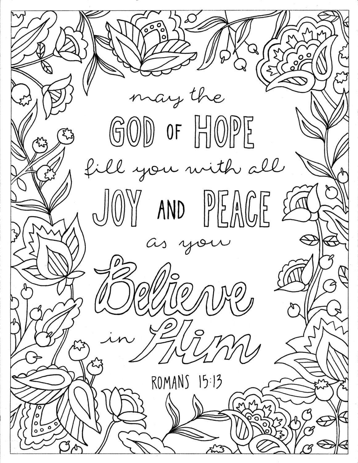Printable Bible Coloring Pages For Kids Book Of John  God of Hope Coloring Page Romans 15 13 Printable