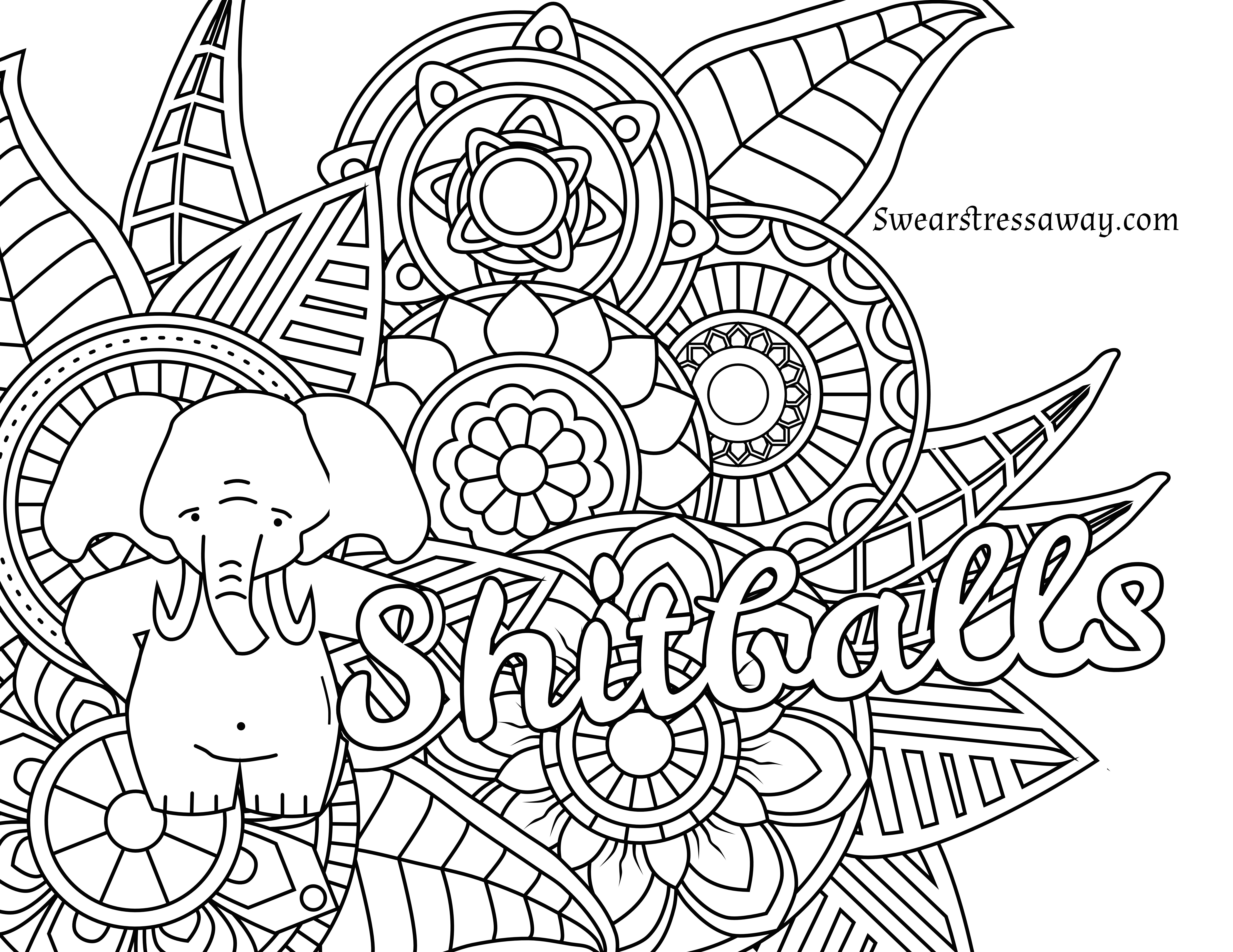 Printable Coloring Pages Adults Free  Free Printable Adult Swear Word Coloring Pages Download