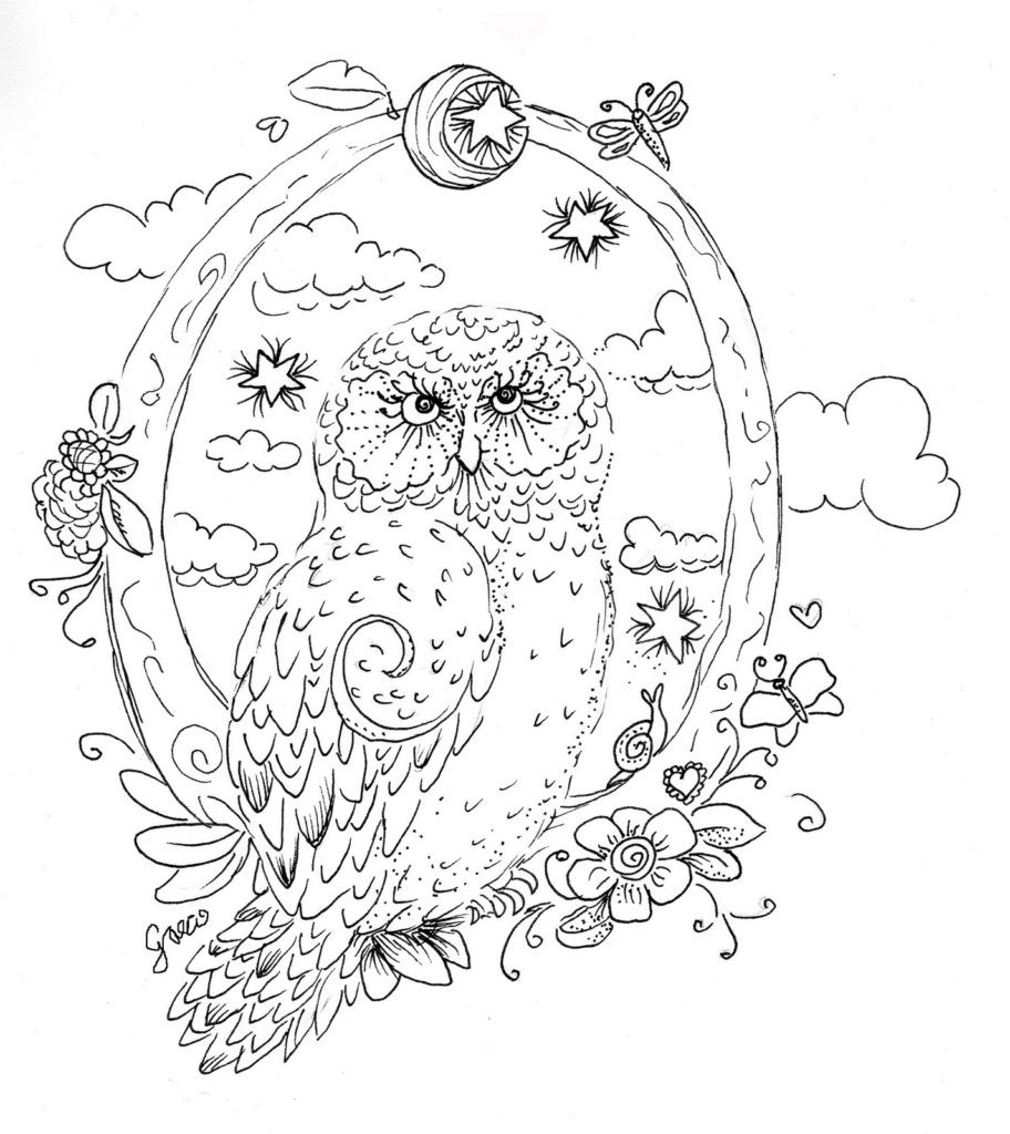 Printable Coloring Pages For Men  OWL Coloring Pages for Adults Free Detailed Owl Coloring