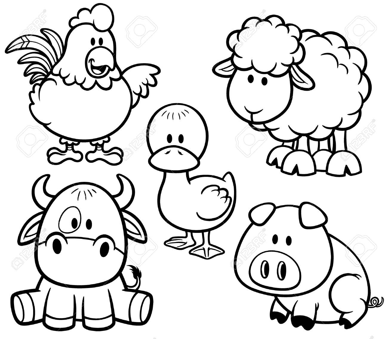Printable Coloring Pages Of Animals  Cute Baby Farm Animal Coloring Pages Best Coloring Pages