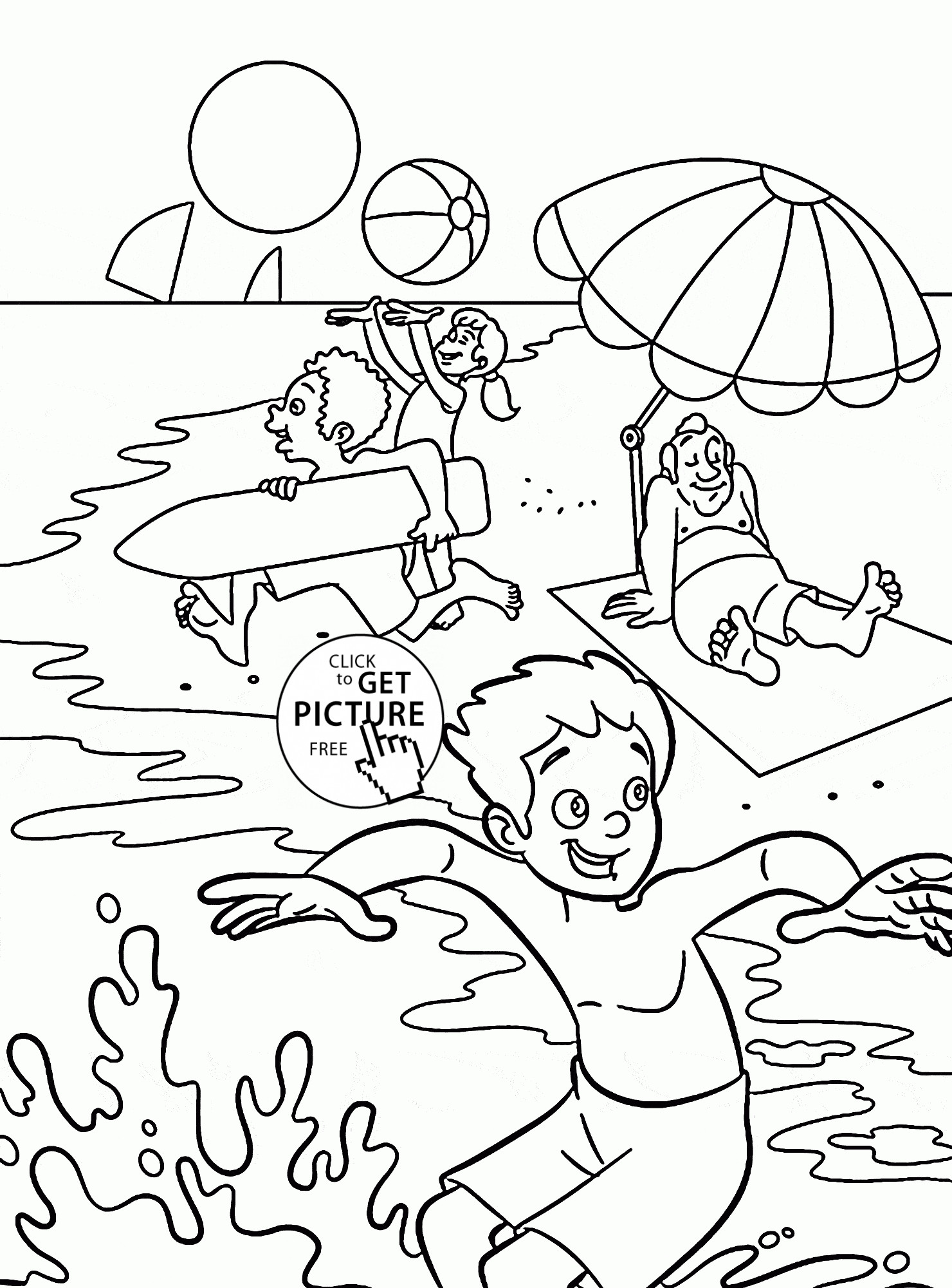 Printable Coloring Pages Summer  Happy Summer Coloring Page Getcoloringpages Free Free