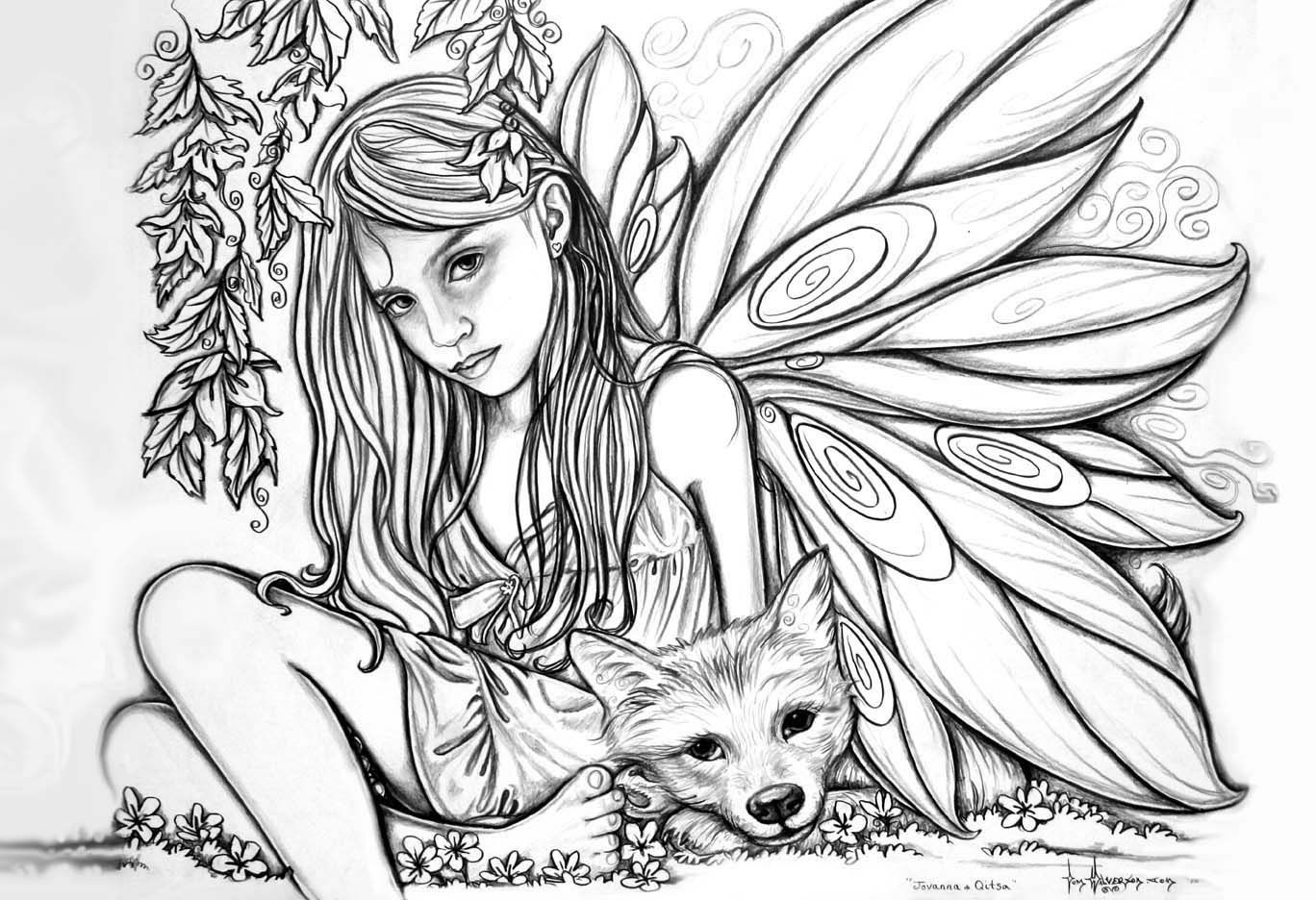 Printable Fairy Coloring Pages For Adults  Printable Difficult Coloring Pages Coloring Home