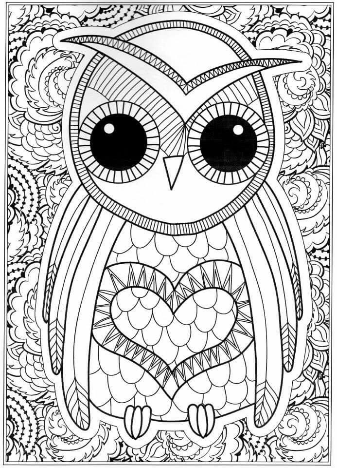 Printable Free Coloring Pages For Adults  OWL Coloring Pages for Adults Free Detailed Owl Coloring