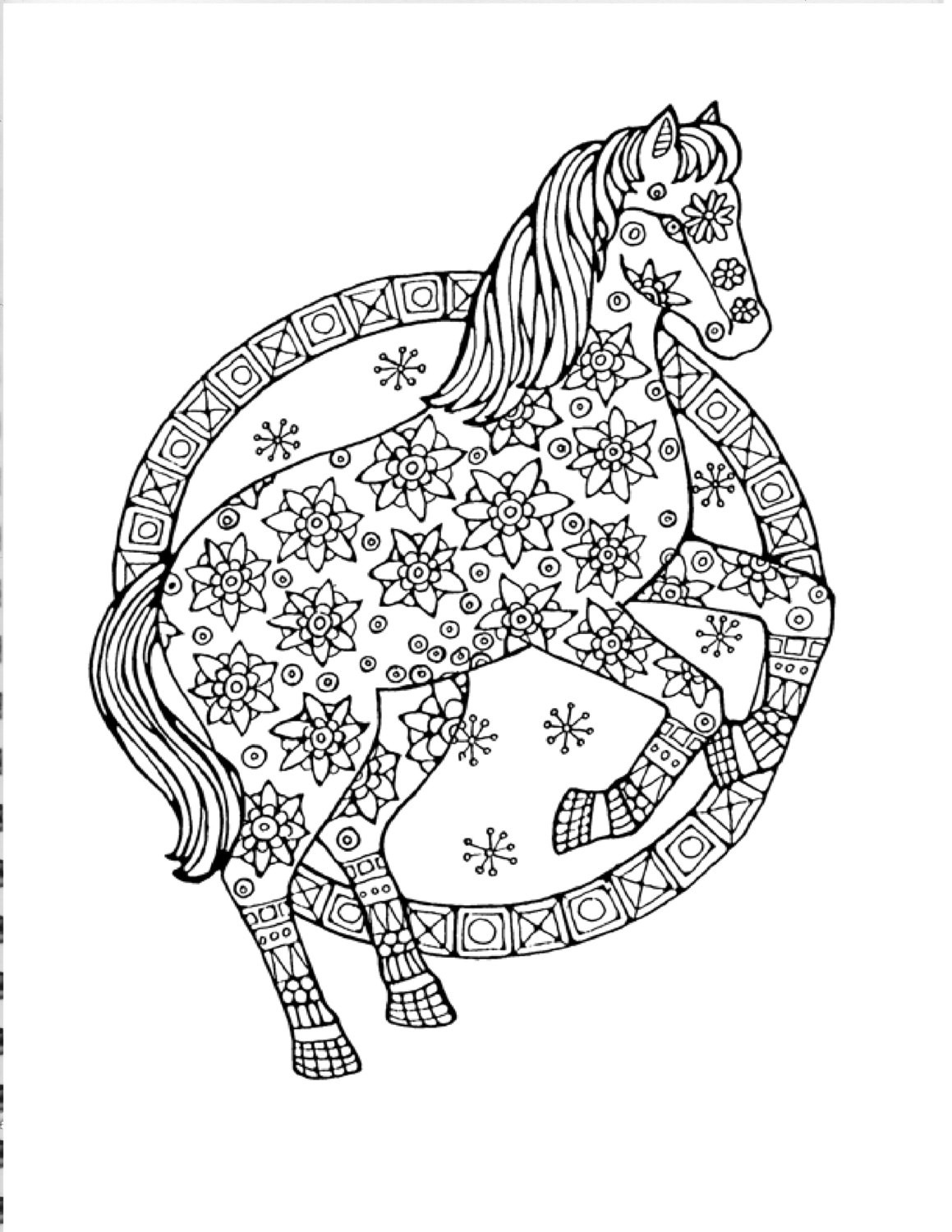 Printable Horse Coloring Pages For Adults  Adult Horse Coloring Pages