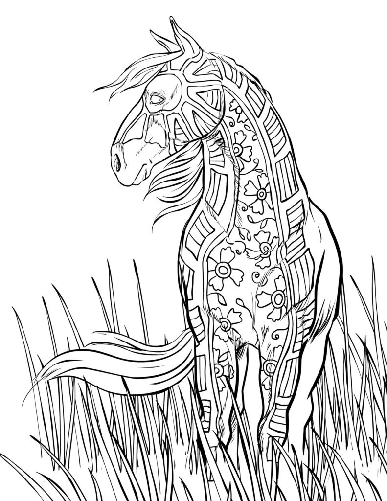 Printable Horse Coloring Pages For Adults  Horse Abstract Coloring Pages For Adults Coloring Pages