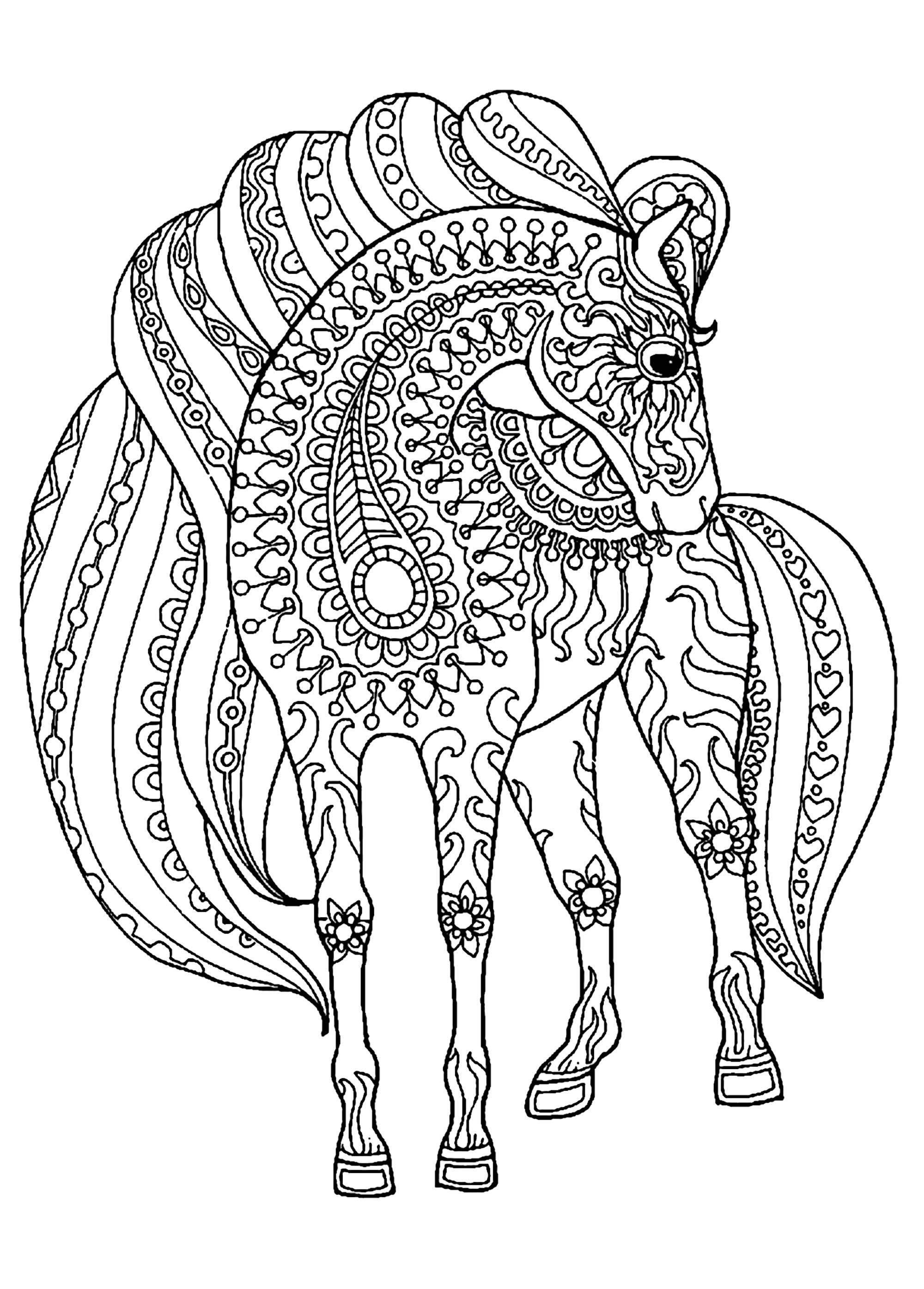 Printable Horse Coloring Pages For Adults  Horse simple zentangle patterns Horses Adult Coloring Pages