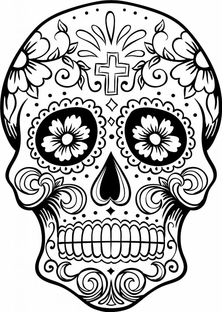 Printable Sugar Skulls Coloring Pages  Free Printable Day of the Dead Coloring Pages Best