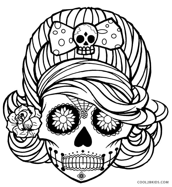 Printable Sugar Skulls Coloring Pages  Printable Skulls Coloring Pages For Kids