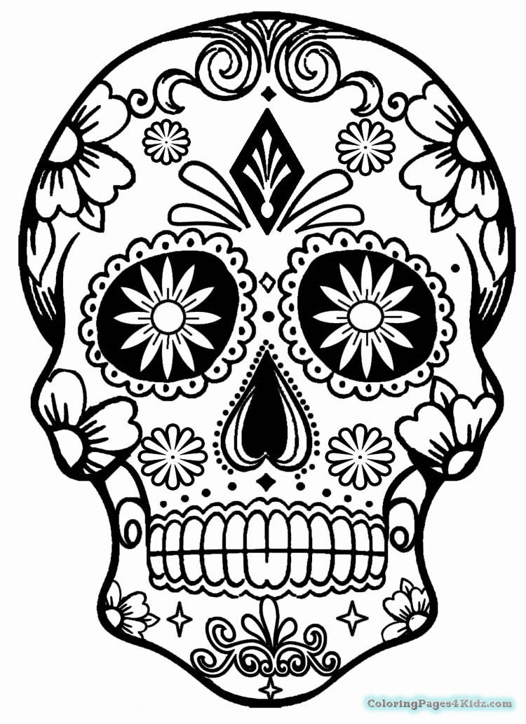 Printable Sugar Skulls Coloring Pages  Girl Sugar Skull Coloring Pages