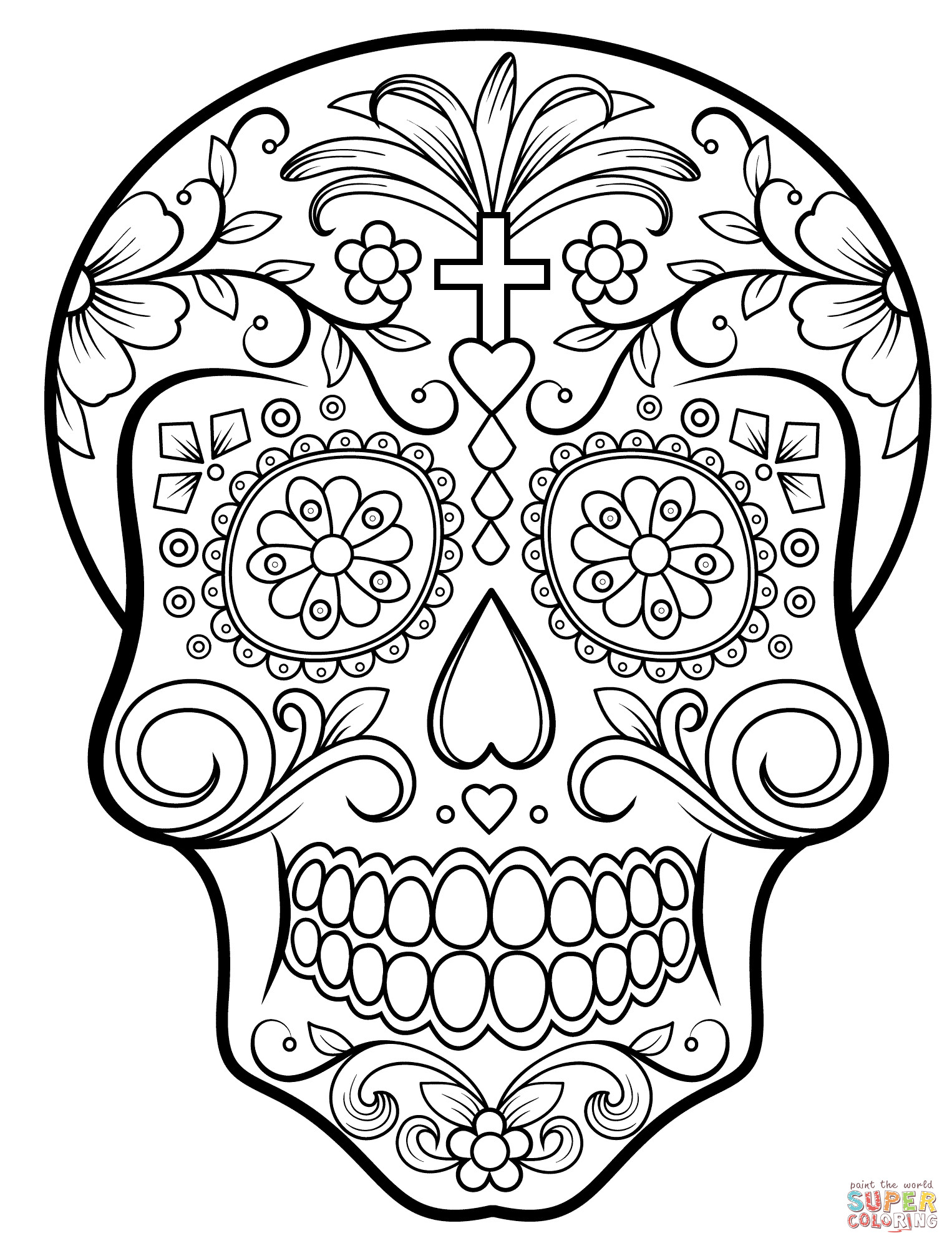Printable Sugar Skulls Coloring Pages  Sugar Skull Coloring Pages Bestofcoloring
