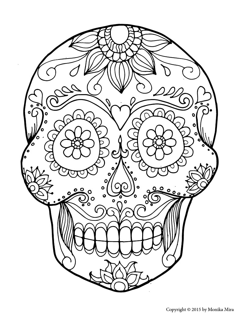Printable Sugar Skulls Coloring Pages  Free Printable Sugar Skull Coloring Sheets Lucid Publishing