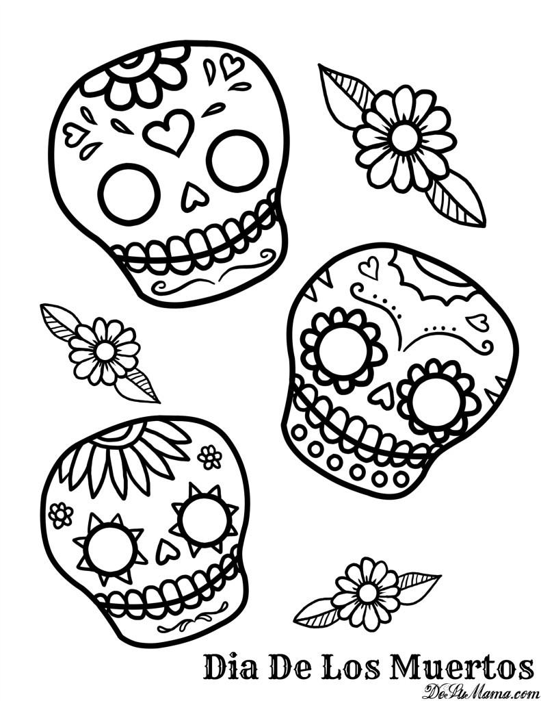 Printable Sugar Skulls Coloring Pages  Mexican Day of the Dead Art and Free Printables