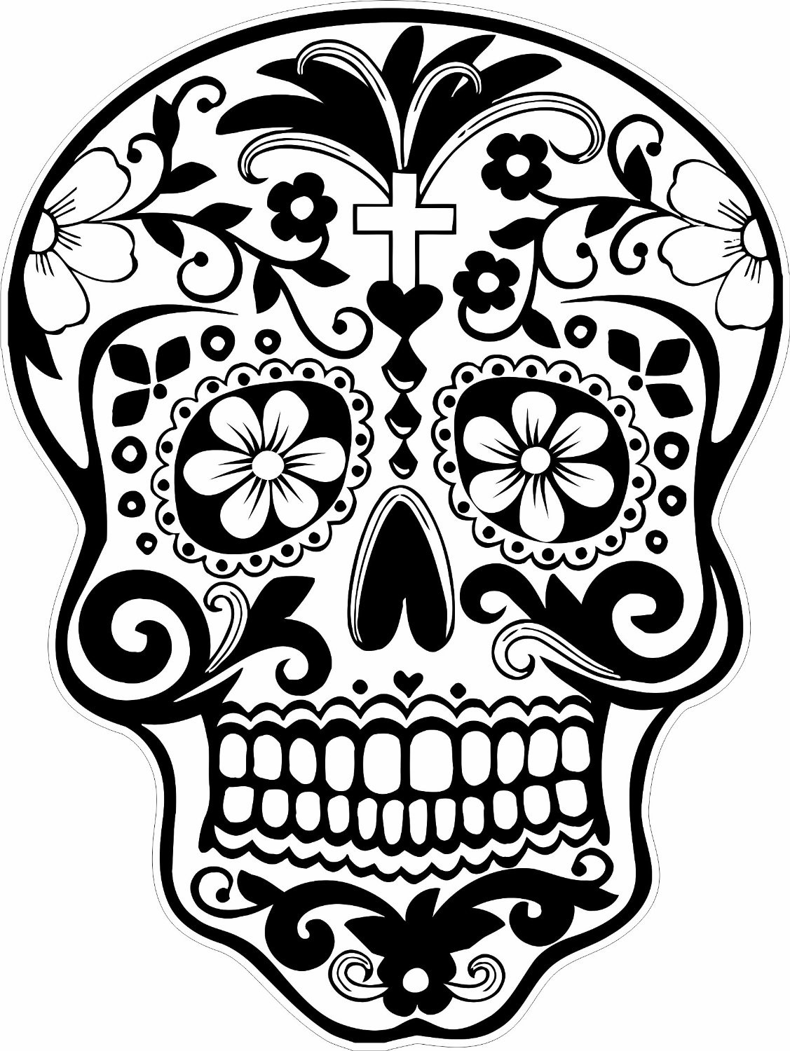 Printable Sugar Skulls Coloring Pages  Sugar Skull Coloring Pages coloringsuite