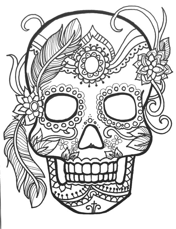 Printable Sugar Skulls Coloring Pages  10 Sugar Skull Day of the Dead ColoringPages Original Art