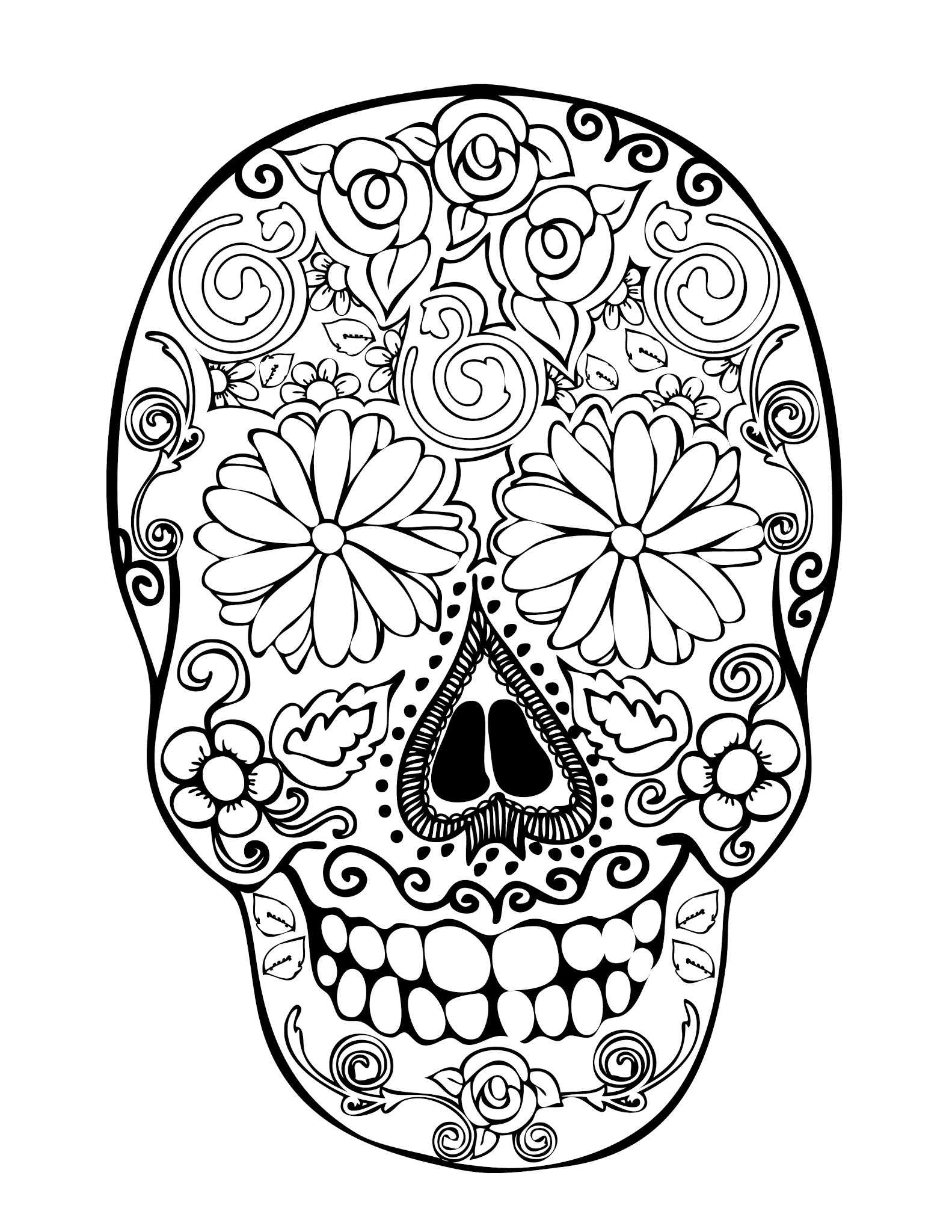Printable Sugar Skulls Coloring Pages  28 skull coloring pages for kids Print Color Craft