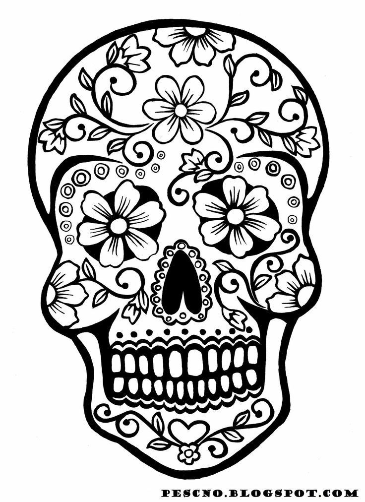 Printable Sugar Skulls Coloring Pages  9 fun free printable Halloween coloring pages