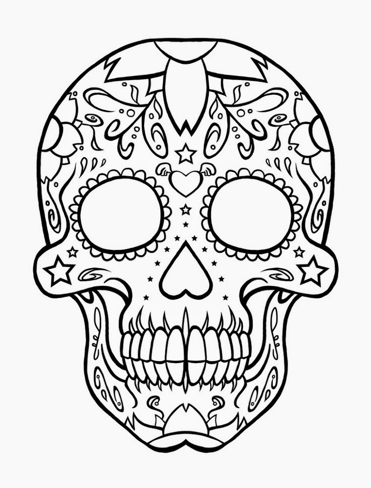 Printable Sugar Skulls Coloring Pages  Coloring Pages Skull Free Printable Coloring Pages