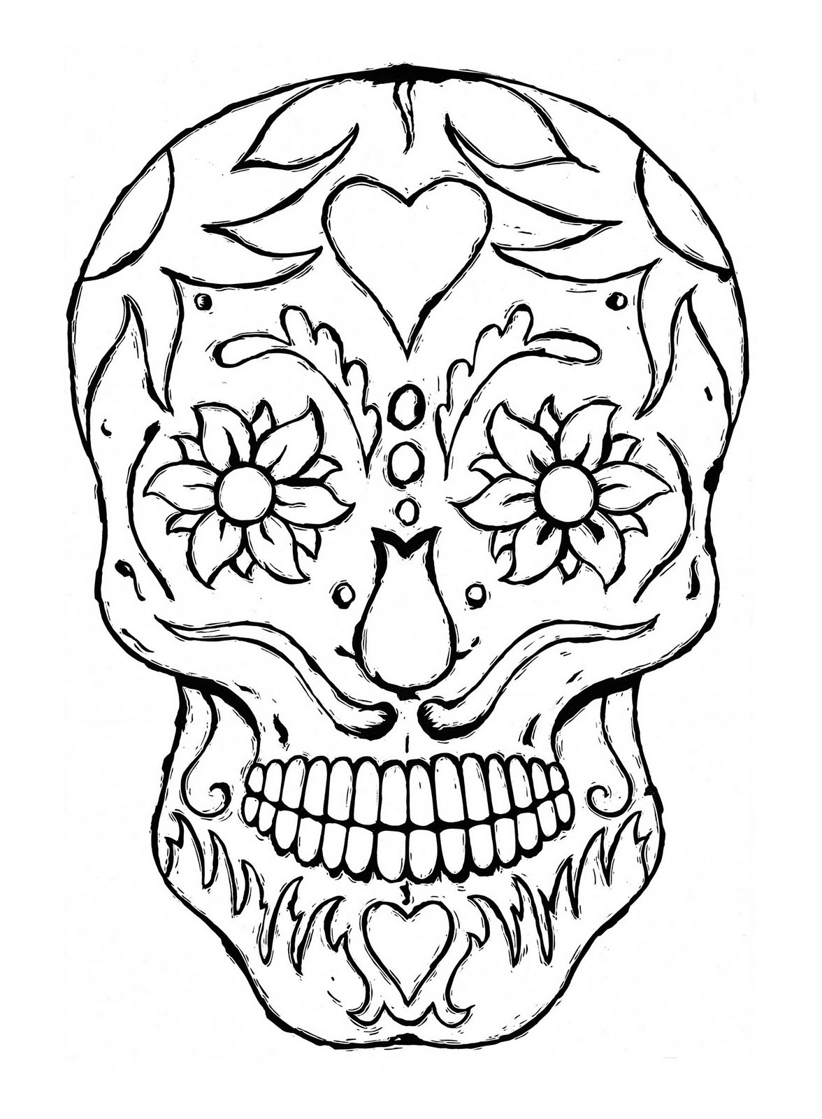 Printable Sugar Skulls Coloring Pages  Free Printable Skull Coloring Pages For Kids