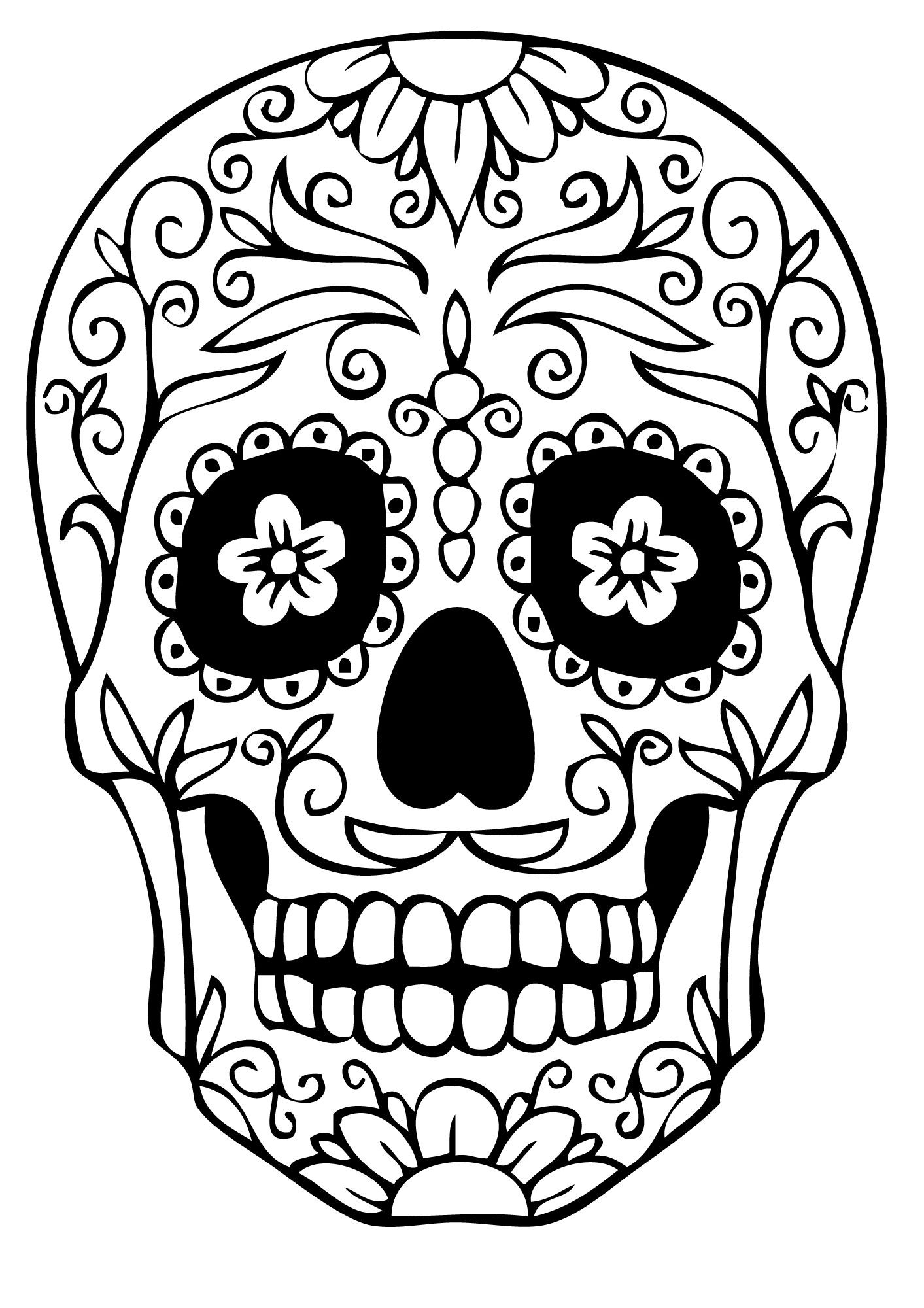 Printable Sugar Skulls Coloring Pages  Sugar Skull Coloring Pages Best Coloring Pages For Kids