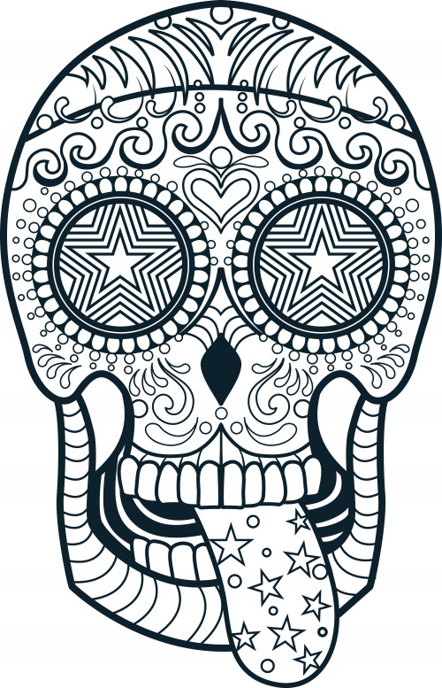 Printable Sugar Skulls Coloring Pages  Sugar Skull Coloring Page 3 KidsPressMagazine
