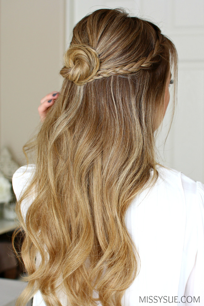 Prom Hairstyle Half Up  Half Up Braid Wrapped Bun