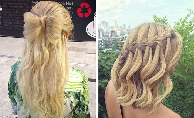 Prom Hairstyles Down Medium Hair  31 Half Up Half Down Prom Hairstyles