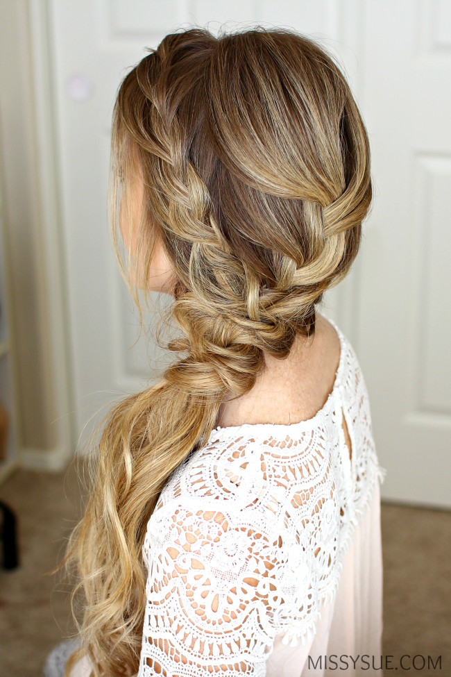 Prom Hairstyles With Braid  Braided Side Swept Prom Hairstyle