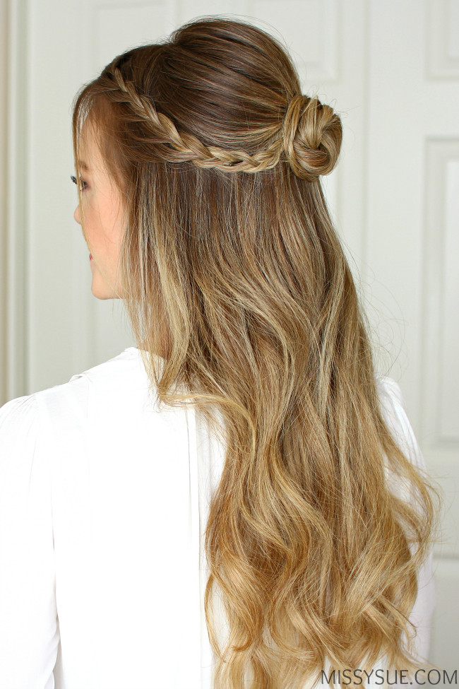 Prom Hairstyles With Braid  Half Up Braid Wrapped Bun