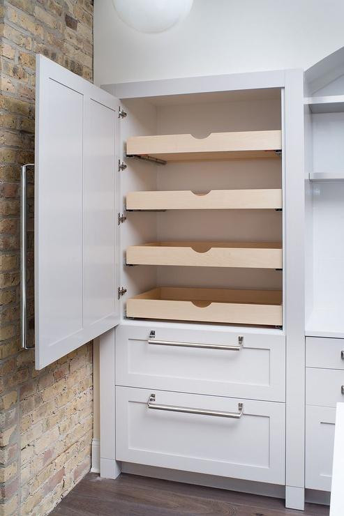 Best ideas about Pull Out Drawers For Pantry . Save or Pin Hidden Pantry with Stacked Pull Out Shelves Transitional Now.