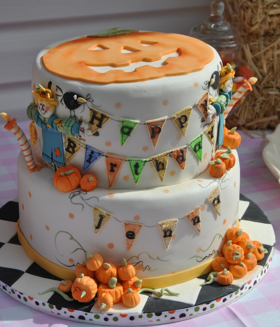 Pumpkin Birthday Cake  Pumpkins & Scarecrows 2Nd Birthday Cke CakeCentral
