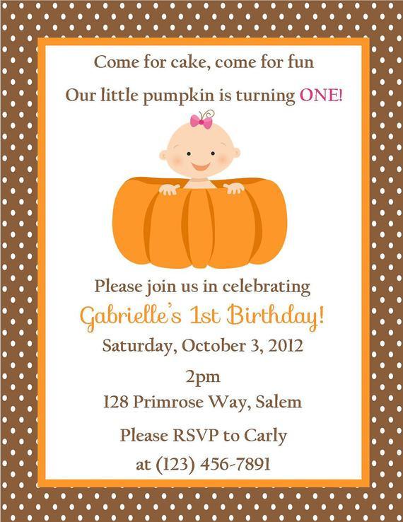 Pumpkin First Birthday Invitations  Pumpkin Birthday Invitation Digital File Pumpkin First