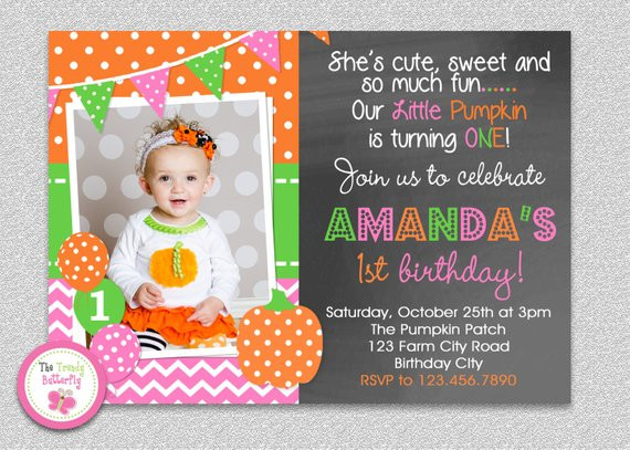 Pumpkin First Birthday Invitations  Pumpkin Birthday Invitation Fall Pumpkin Girls 1st
